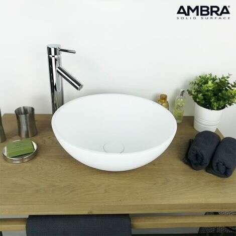 Vasque à poser ronde 40 cm en Solid surface - Boléa