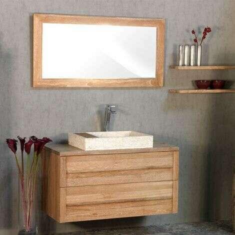 Miroir 120 cm en teck blanchi
