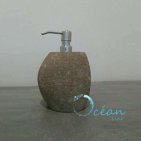 Distributeur de savon en pierre de rivière Galéo