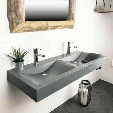 Double vasque à poser grise en pierre de synthèse