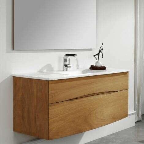 Meuble suspendu avec simple vasque en solid surface 90 cm - Iroko