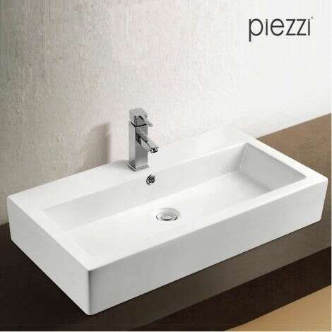 Vasque rectangulaire en céramique blanche Isabella