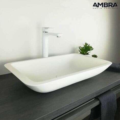 Vasque à poser rectangulaire en Solid surface 60 cm - Kazao