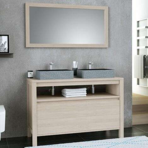 Ensemble meuble 120 cm Chêne clair avec plan en bois + miroir