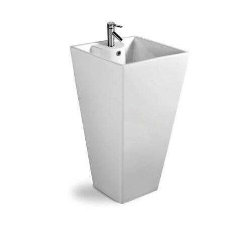 Vasque sur pied carrée, Totem blanc en céramique - Quadra
