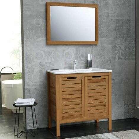Ensemble meuble sous vasque 80 cm avec plan vasque et miroir