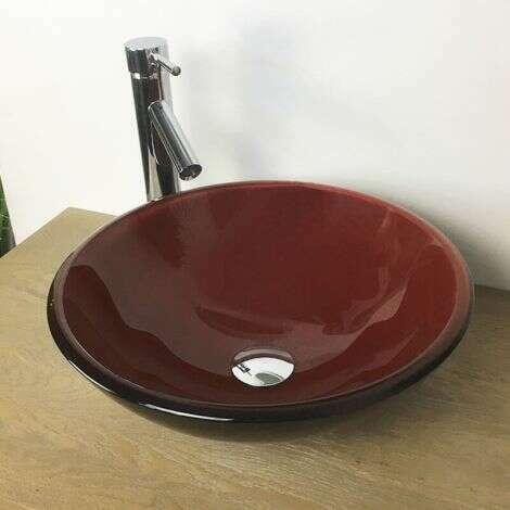 Vasque à poser ronde 42 cm en Verre bicolore noir et rouge - Beno