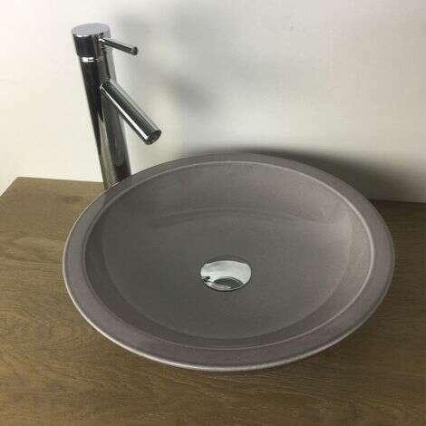 Vasque à poser ronde 40 cm en Pierre de Lave Taupe - Timo