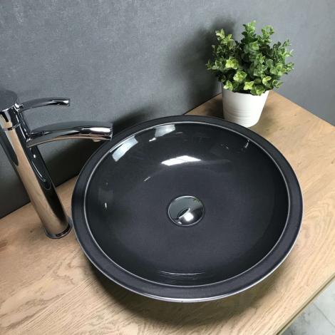 Vasque à poser ronde 40 cm gris en Pierre de lave - Timo