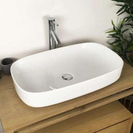 Vasque à poser rectangulaire en céramique 65 cm - Tiara