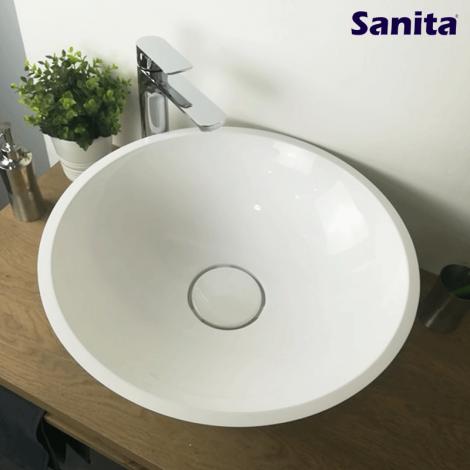 Vasque à poser ronde 50 cm en Pierre de synthèse - Cassandra