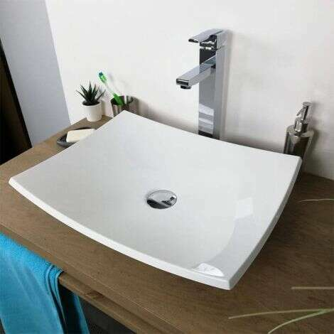Vasque à poser rectangulaire 50 cm en Pierre de synthèse - Rita