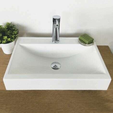 Vasque à poser rectangulaire 55 cm en Pierre de synthèse - Nymphéa