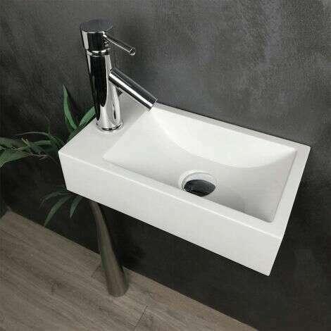 Lave-mains suspendu 40 cm en Pierre de synthèse - Telma G
