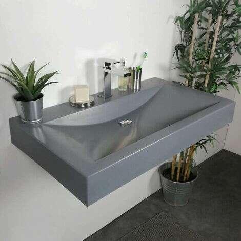 Vasque à poser ou à suspendre 90 cm Gris en Pierre de synthèse - Eva