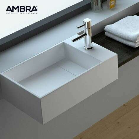 Ambra - Vasque 50 cm en Solid surface à poser ou à suspendre