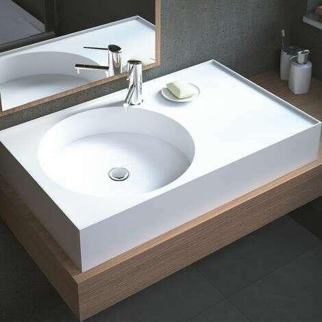 Vasque à poser rectangulaire 80 cm en Solid surface - Sara