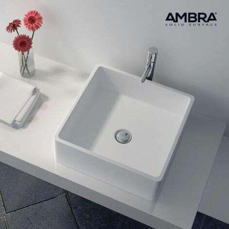Vasque à poser carrée en Composite blanc - Bahia