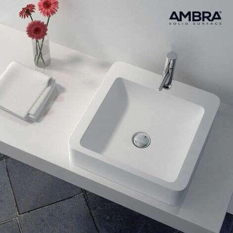 Vasque à poser carrée en Composite blanc - Tanaé