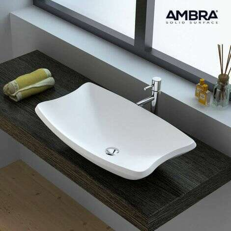 Vasque à poser design rectangulaire en Solid surface - Moréa