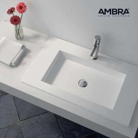Plan vasque intégrée 75 cm en Solid surface - Lilia