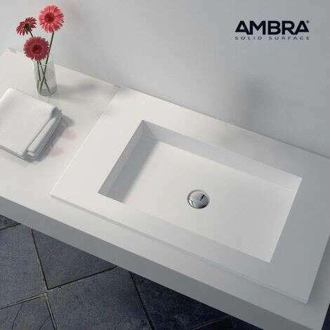 Plan vasque encastrée 75 cm en Solid surface - Lilia sans percement pour mitigeur