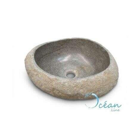 Vasque à poser, lave-main en pierre de rivière 30 cm