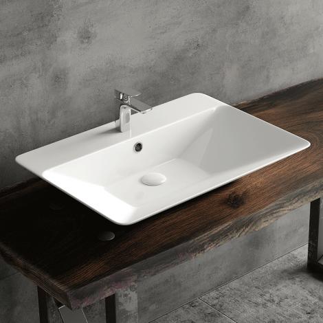 Vasque à poser rectangulaire en céramique 65 cm Vilma